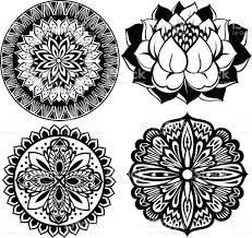set mandalas ornament patternlotus flower stock vector