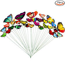 Garden Metal Decor 30 Pcs Butterfly Decorative Garden Stakes Metal And Pvc Plastic