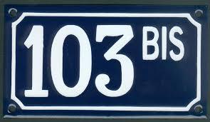 plaque numero rue numéro de rue 10x18cm 1 à 3 signes avec bis ter a b