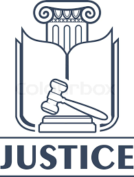 icon bureau column with lintel and opened book pages judge gavel or