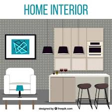 clipart vector of flat design home interior side view illustration