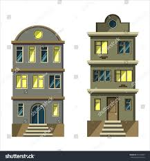 apartment building design set city apartment buildings architecture flat stock vector