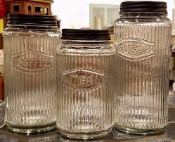 vintage inspired glass canister set coffee tea sugar jars