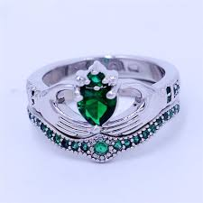 ring with birthstones 2 in 1 emerald birthstone promise ring tooty ta