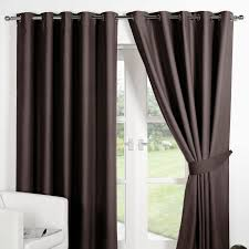 Chocolate Curtains Eyelet Ring Top Fully Lined Pair Eyelet Ready Made Curtains Luxury
