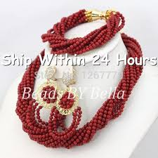 necklace beaded designs images Latest design wedding african beads jewelry set red coral beads jpg