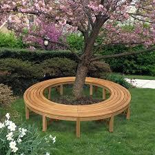 Circular Bench Around Tree Teak Benches Circa Curved Backless Four Piece Circular Bench
