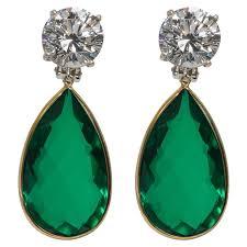 emerald drop earrings maharajah collection amazing faux diamond emerald drop