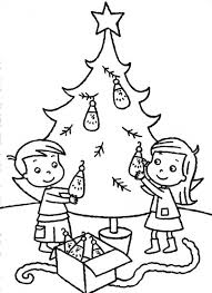 kids decorating christmas tree coloring christmas coloring