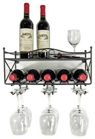 mango steam wall mounted wine rack with shelf and stemware glass