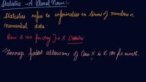 statistics a plural noun class 11 economics concept of