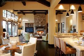 farmhouse great room dining room traditional with upholstered