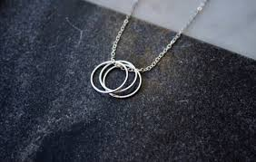 silver rings necklace images Silver three rings necklace simplifed accessories jpg