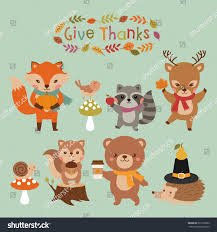 woodland animals set thanksgiving day stock vector 503105062