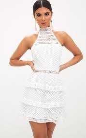 white lace dress white lace panel tiered mini dress dresses prettylittlething usa