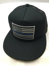 Black Flag Hat Thin Blue Line American Flag Black Trucker Hat Snapback Flat