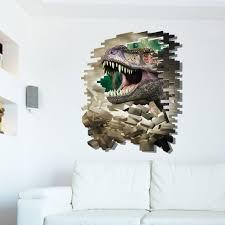 8002b 3d window through dinosaur broken wall wall stickers decals