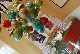 christmas decorations in teal red and mint green