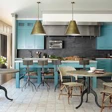 Turquoise Cabinets Kitchen Turquoise Blue Kitchen With Black Countertops And Backsplash