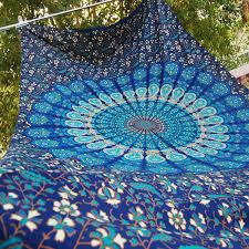 Hippie Home Decor Blue Hippie Mandala Tapestry Wall Hanging Boho Bohemian Twin