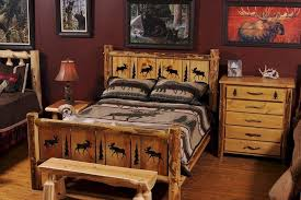 Rustic Wooden Bedroom Furniture - rustic pine bedroom furniture clear lacquer iron wood bed two