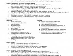 musical theatre resume exles theatre resume exle new format and cv sles classical