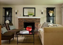 red brick fireplace living room traditional with brown side chair