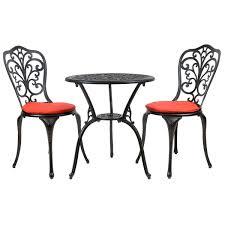 Aluminium Bistro Chairs Black Cast Aluminium Bistro Set With Red Cushions Buydirect4u