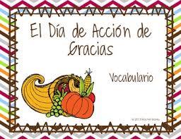 día de acción de gracias vocab powerpoint with pictures thanksgiving
