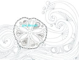sand dollar and waves zendoodle coloring page