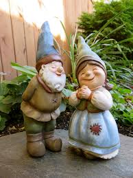 2 garden gnomes statue yard ornaments figurines boy