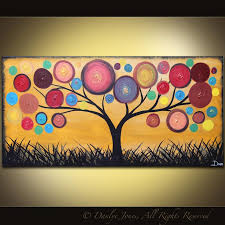 abstract painting tree acrylic on canvas red ochre 48 x 24
