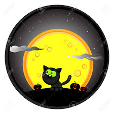 cute halloween drawing black cat in the night sky and moon