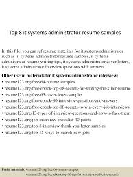 System Administrator Resume Example by Top8itsystemsadministratorresumesamples 150507065044 Lva1 App6891 Thumbnail 4 Jpg Cb U003d1430981492