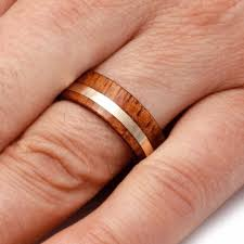 koa wedding bands 14k yellow gold koa wood wedding band custom ring