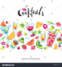 holiday cocktails background colorful party seamless horizontal border watercolor stock