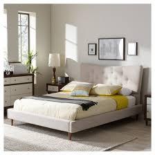 hannah mid century modern linen platform bed full beige