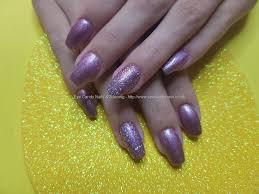 social build acrylic nails with purple gel polish nail