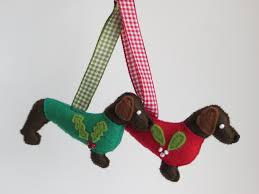 dark brown hand sewn dachshund or teckel felt dog christmas