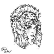drawn women lion pencil and in color drawn women lion