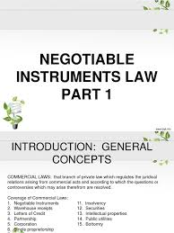negotiable instruments law part 1 pdf negotiable instrument