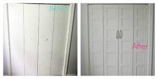 3 Door Closet Remodelaholic Bi Fold To Paneled Door Closet Makeover