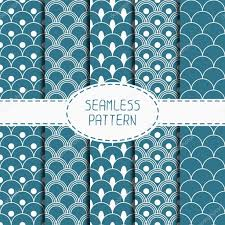 japanese wrapping set of geometric national blue japanese seamless pattern