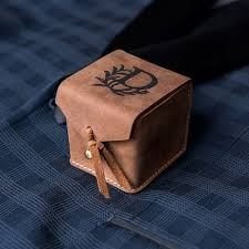 box personalized tanned genuine leather ring box personalized the knot shop