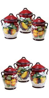 Sunflower Canisters For Kitchen Canisters And Jars 20654 3 Piece Fruit Canister Set Hand Painted