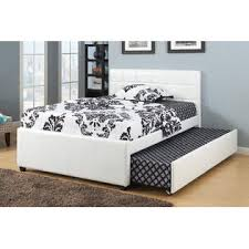 poundex white faux leather full size bed with twin size trundle