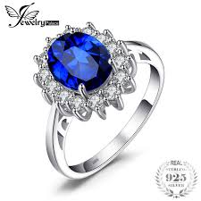 saphire rings jewelrypalace princess diana 3 2 ct created blue sapphire ring 925