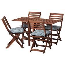 äpplarö table 4 folding chairs outdoor brown stained ytterön blue