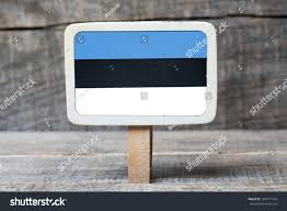 Estonian Flag Estonian Flag On Small Wooden Framed Stock Photo 166977794