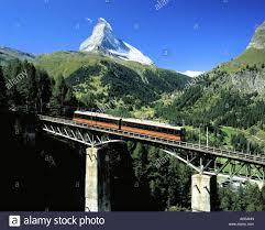 gornergrat railway in summer with the matterhorn switzerland